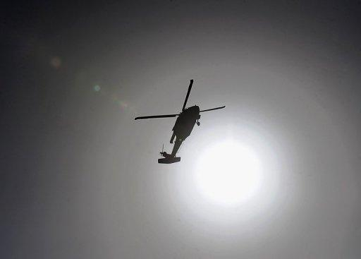 A US Black Hawk military helicopter flies over Kabul in 2010