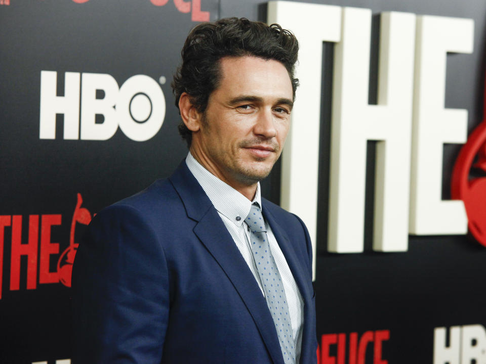 """James Franco attends the premiere of the HBO Original Series """"The Deuce"""" at the SVA Theatre on Thursday, Sept. 7, 2017, in New York. (Photo by Andy Kropa/Invision/AP)"""