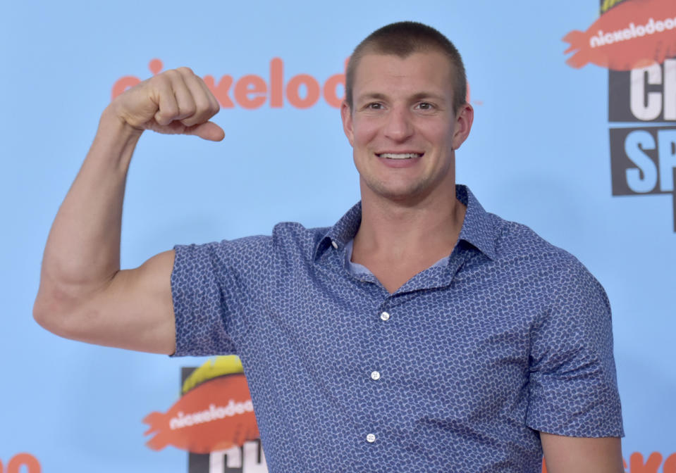 NFL player Rob Gronkowski, of the New England Patriots, arrives at the Kids' Choice Sports Awards on Thursday, July 11, 2019, at the Barker Hangar in Santa Monica, Calif. (Photo by Richard Shotwell/Invision/AP)