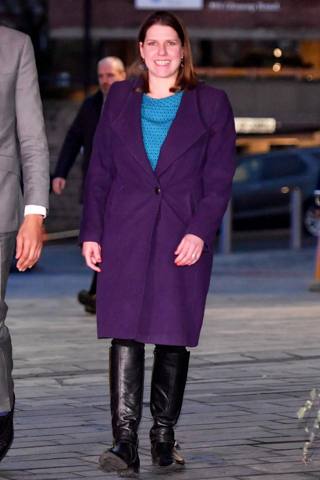 Jo Swinson arrives at the studio ahead of the Question Time special. (Getty)