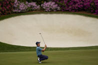 Justin Thomas reacts after missing an eagle putt on the 13th green during the second round of the Masters golf tournament on Friday, April 9, 2021, in Augusta, Ga. (AP Photo/David J. Phillip)