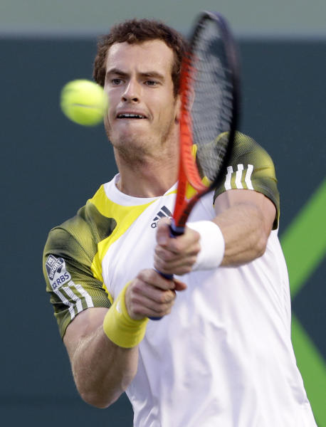 Andy Murray, of Britain, returns a shot from Richard Gasquet, of France, during a semifinal at the the Sony Open tennis tournament, Friday, March 29, 2013, in Key Biscayne, Fla. (AP Photo/Wilfredo Lee)