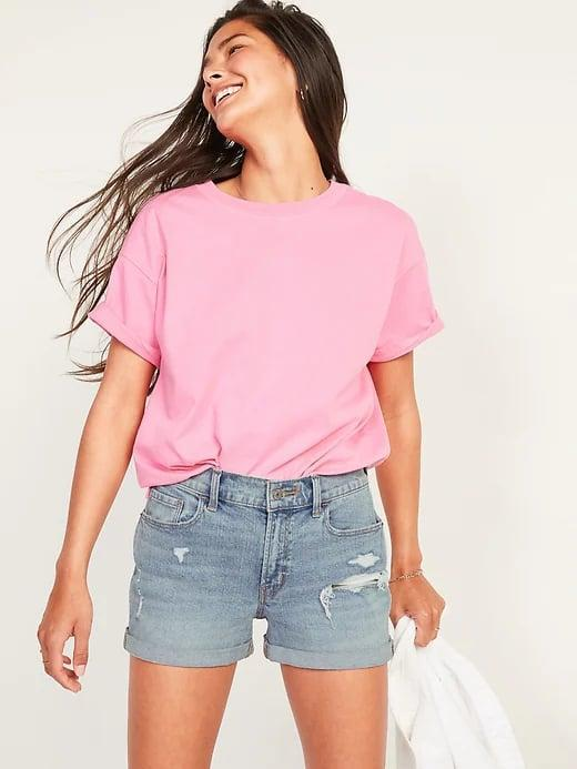 <p>We love the lived-in look of the <span>Old Navy Mid-Rise Boyfriend Ripped Light-Wash Jean Shorts</span> ($30, originally $35) with a solid tee and sneakers all weekend long.</p>