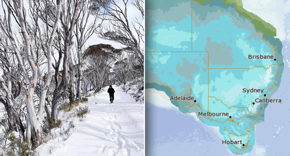 Snowfall in Thredbo, and a map showing icy regions in Australia's east coast.