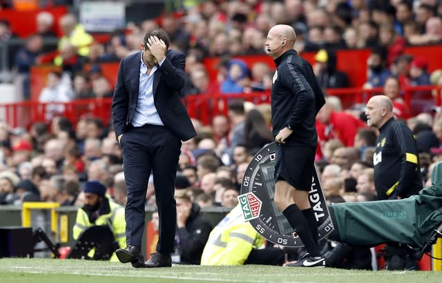 Frank Lampard, left, scratches his head during a nightmare start as Chelsea manager. Despite a relatively positive performance, the Blues were thumped 4-0 by Manchester United at Old Trafford in Lampard's first competitive match since succeeding Maurizio Sarri