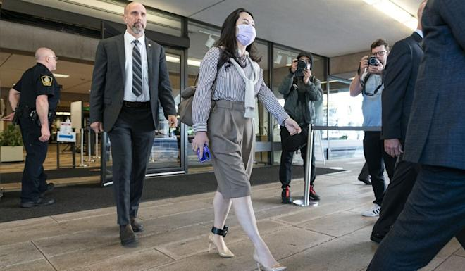 Meng leaving the BC Supreme Court in Vancouver during a break in her hearing on Monday. Photo: AFP