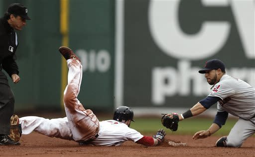Boston Red Sox's Dustin Pedroia slides safely into second on his go ahead RBI double as Cleveland Indians' Mike Aviles tries for the tag during the eighth inning of their 7-4 win in a baseball game at Fenway Park in Boston Saturday, May 25, 2013. (AP Photo/Winslow Townson)