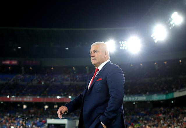 Wales coach Warrren Gatland arrives onto the field as the team warms up. (Getty Images)