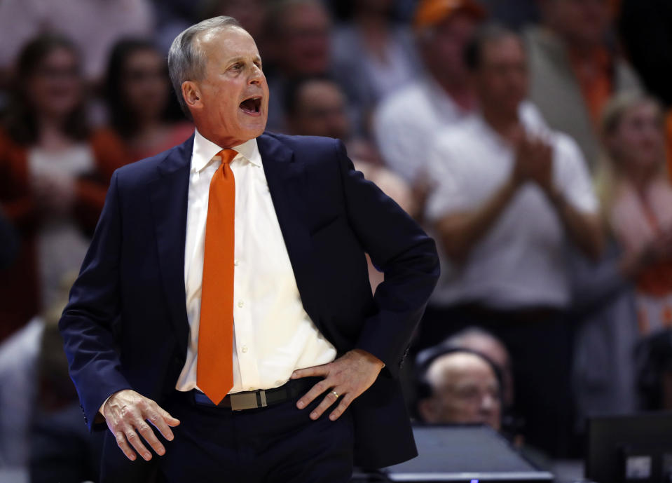 Tennessee head coach Rick Barnes yells to his players during the second half of an NCAA college basketball game against Kentucky Saturday, March 2, 2019, in Knoxville, Tenn. Tennessee won 71-52. (AP Photo/Wade Payne)