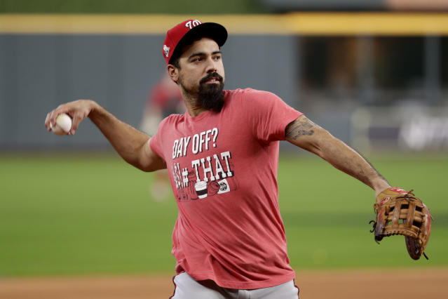 Washington Nationals third baseman Anthony Rendon warms up during batting practice for baseball's World Series Monday, Oct. 21, 2019, in Houston. The Houston Astros face the Washington Nationals in Game 1 on Tuesday. (AP Photo/Eric Gay)