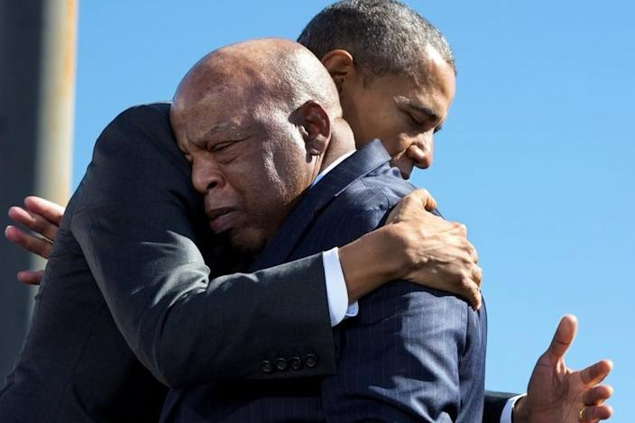Barack Obama and John Lewis walked across the bridge 50 years after the landmark march