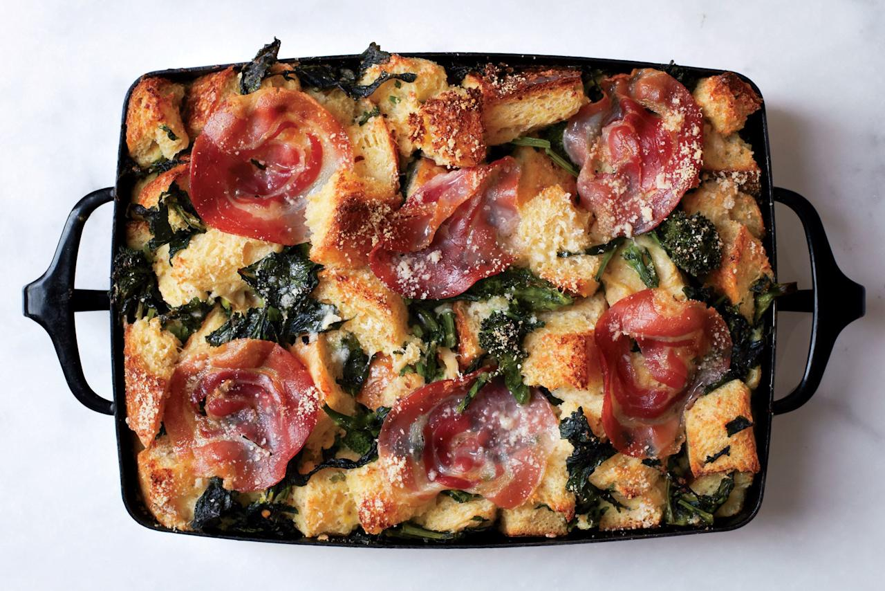 "This eggy bread pudding needs two finishing touches for entry into the hall of fame: slices of Pancetta and a shower of salty, nutty Parm. <a rel=""nofollow"" href=""https://www.epicurious.com/recipes/food/views/parmesan-bread-pudding-with-broccoli-rabe-and-pancetta-51155230?mbid=synd_yahoo_rss"">See recipe.</a>"