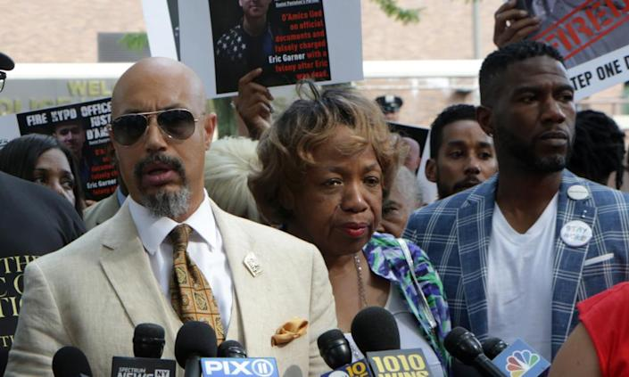 Eric Garner's family holds a press conference regarding the firing of NYPD officer Daniel Pantaleo, on 19 August.