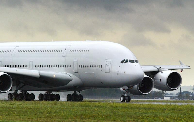 An Airbus A380 superjumbos rolls on the landing runway at the Toulouse-Blagnac airport, southern France, October 18, 2005