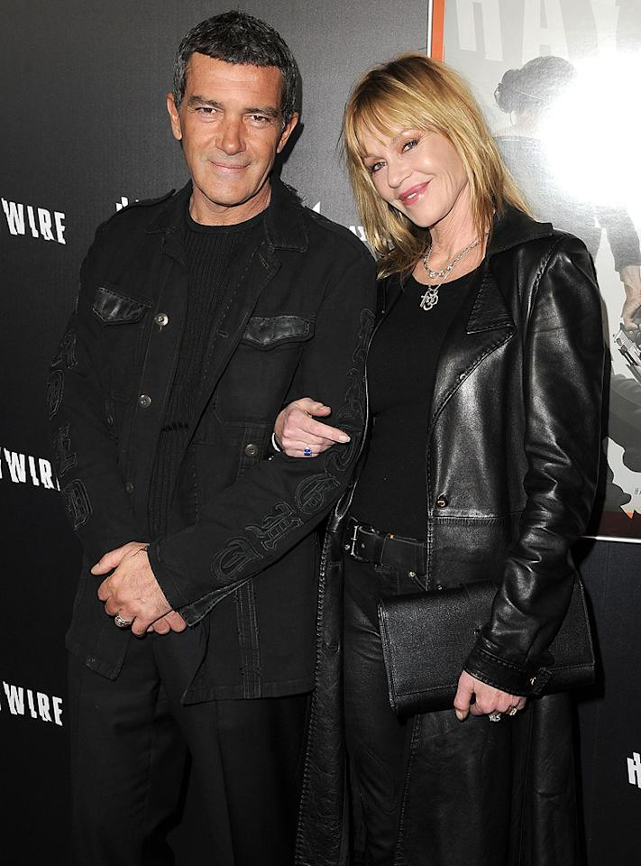 "<a href=""http://movies.yahoo.com/movie/contributor/1800018806"">Antonio Banderas</a> and <a href=""http://movies.yahoo.com/movie/contributor/1800018809"">Melanie Griffith</a> at the Los Angeles premiere of <a href=""http://movies.yahoo.com/movie/1810215399/info"">Haywire</a> on January 6, 2012."