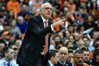 Syracuse head coach Jim Boeheim shouts instructions to his players during the first half of an NCAA college basketball game against North Carolina in Syracuse, N.Y., Saturday, Feb. 29, 2020. North Carolina defeated Syracuse 92-79. (AP Photo/Adrian Kraus)