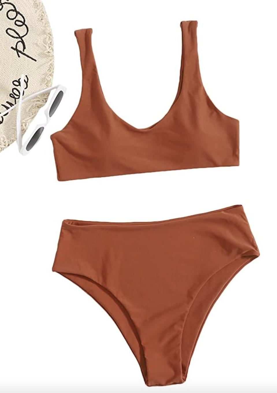 <p>You'll make a splash in this fitted <span>SweatyRocks Solid Scoop Neck High-Waist Bikini </span> ($14). It also comes in more than 30 shades.</p>