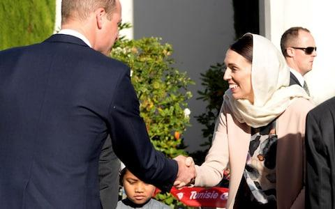 Prince William, Duke of Cambridge greets New Zealand Prime Minister Jacinda Ardern - Credit: Tracey Nearmy/Getty