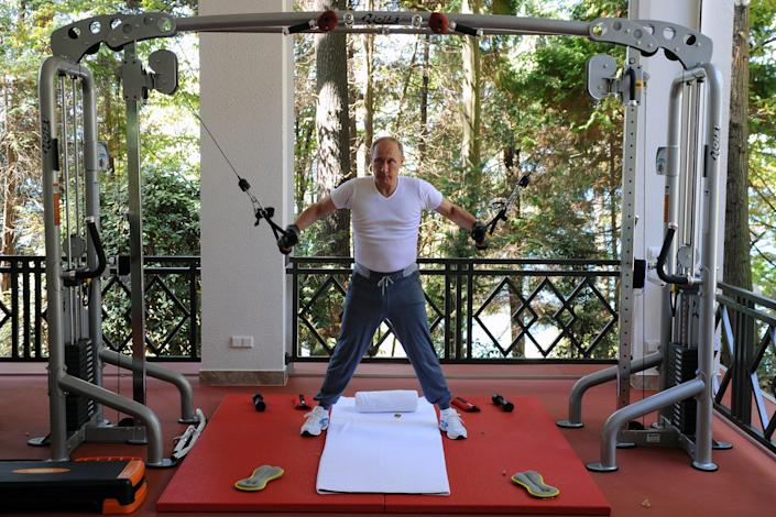 Putin does some gym work at the Bocharov Ruchei state residence in Sochi, Russia, on Aug. 30, 2015.