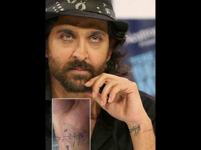 <b>5. Hrithik Roshan</b><br> Often hailed as Bollywood's answer to Hollywood- Hrithik Roshan, got his wife's name 'Sussanne' engraved on his left wrist as a surprise for her. He got it done when she was not in town