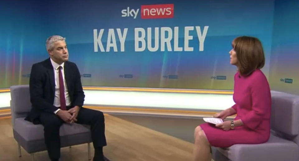 A screenshot of Mr Barclay, left, and Sky News presenter Kay Burley during their interview. Source: Sky News