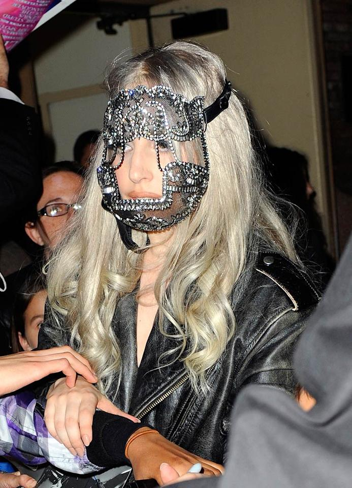 "From the looks of this bedazzled accessory, is it safe to assume that Lady Gaga's latest inspiration is none other than cannibal Hannibal Lecter? Dario Alequin/<a href=""http://www.infdaily.com"" target=""new"">INFDaily.com</a> - May 13, 2010"