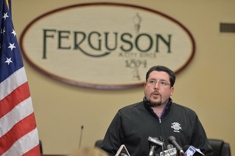 Ferguson Mayor James Knowles speaks to the media during a press conference at the Ferguson City Hall and Municipal Court Building on March 11, 2015 in Ferguson, Missouri (AFP Photo/Michael B. Thomas)
