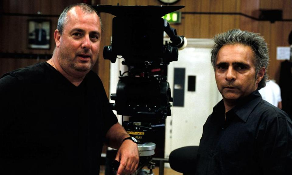 Roger Michell, left, and the writer Hanif Kureishi during filming of the 2003 film The Mother.
