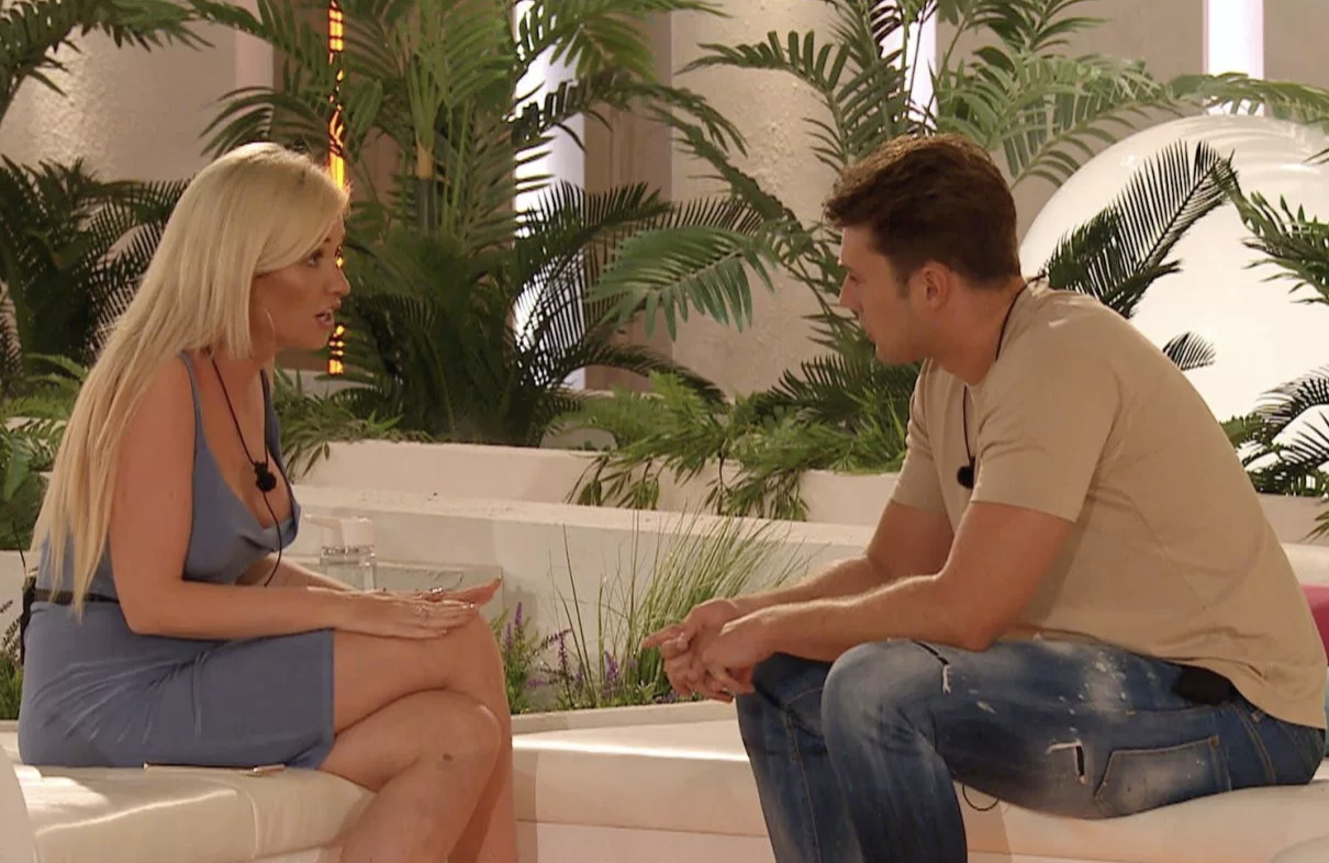 Amy Hart and Curtis Pritchard on Love Island 2019 (ITV)