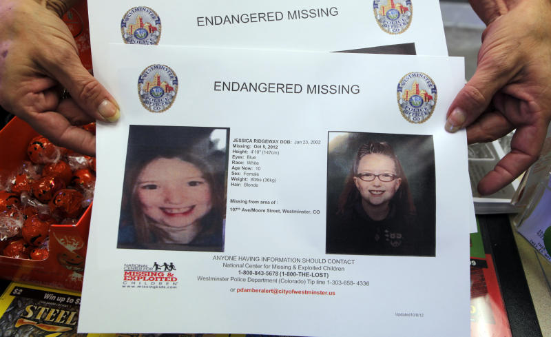 A missing poster for ten-year-old Jessica Ridgeway is seen in Broomfield, Colo., on Monday, Oct. 8, 2012. The youngster has been missing since she left her home Friday morning on her way to school. (AP Photo/Ed Andrieski)