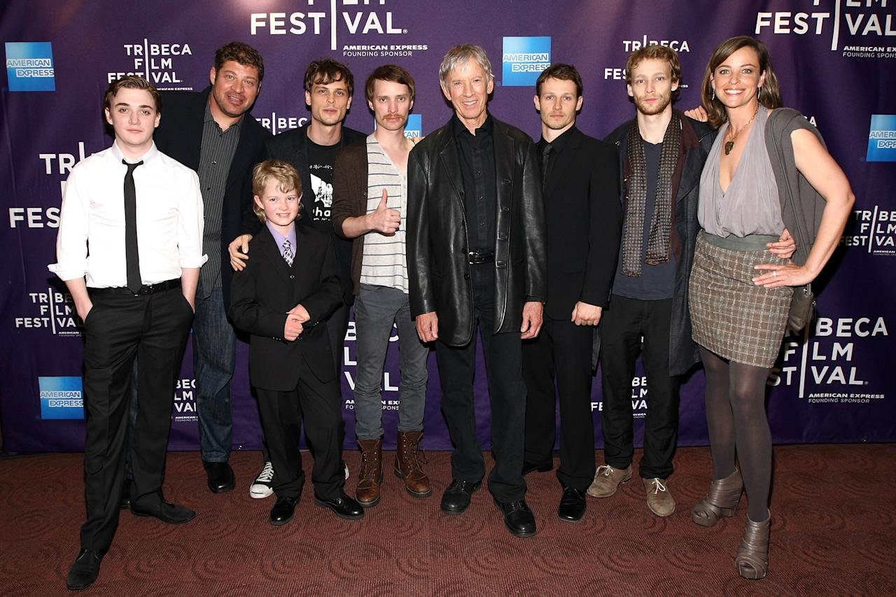 "NEW YORK, NY - APRIL 23: (L-R) Actors Kyle Gallner, Brad William Henke, Daniel Frandson, Matthew Gray Gubler,Director Jaffe Zinn, Scott Glenn, Will Estes, Johnny Lewis and Alison Elliott attend the premiere of ""Magic Valley"" during the 2011 Tribeca Film Festival at Clearview Cinemas Chelsea on April 23, 2011 in New York City.  (Photo by Neilson Barnard/Getty Images)"
