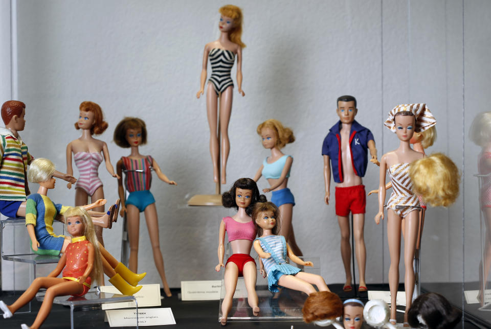 SOULTZ-HAUT-RHIN, FRANCE - MARCH 08: Barbie dolls are displayed during an exceptional exhibition dedicated to the Barbie doll at