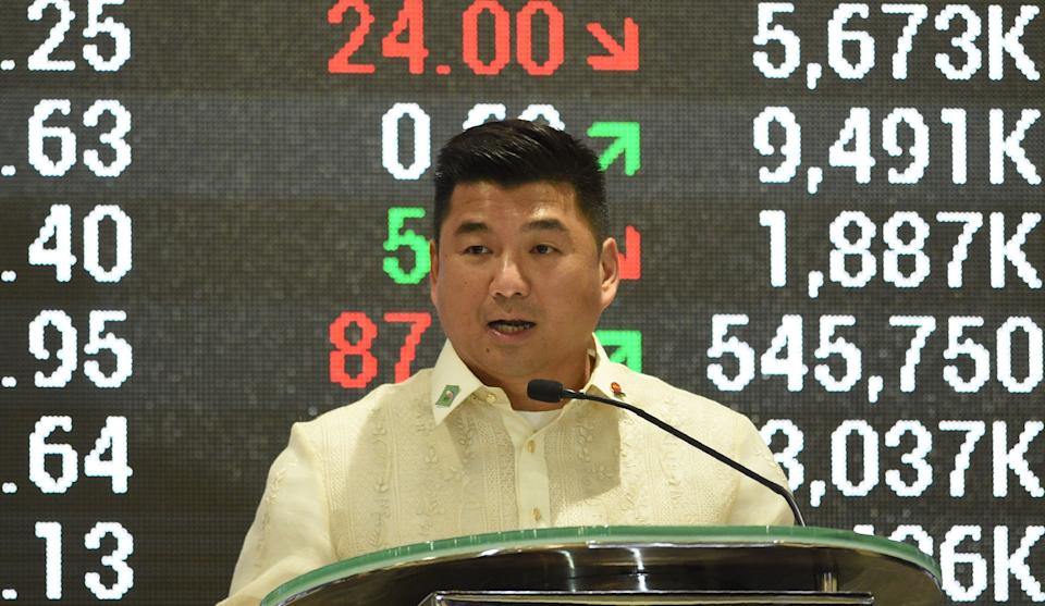 Dennis Uy, chairman and CEO of Philippines' Phoenix petroleum company, delivers his spech at the Philippine Stock Exchange in the financial district of Makati, suburban Manila on July 11, 2017, on the company's tenth anniversary of its listing. / AFP PHOTO / TED ALJIBE (Photo credit should read TED ALJIBE/AFP via Getty Images)