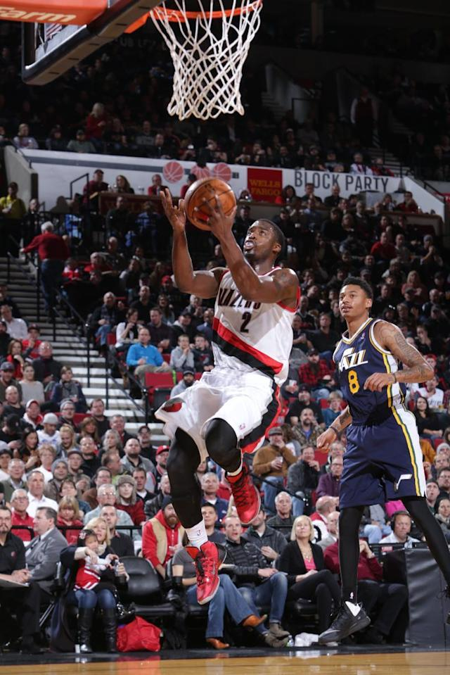 PORTLAND, OR - DECEMBER 6: Wesley Matthews #2 of the Portland Trail Blazers shoots against the Utah Jazz on December 6, 2013 at the Moda Center Arena in Portland, Oregon. (Photo by Sam Forencich/NBAE via Getty Images)
