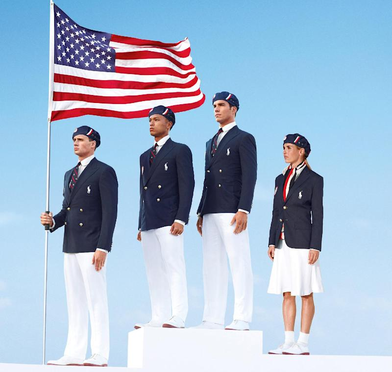 This product image released by Ralph Lauren shows U.S. Olympic  athletes, from left, swimmer Ryan Lochte, decathlete Bryan Clay, rower Giuseppe Lanzone and soccer player Heather Mitts  modeling the the official Team USA Opening Ceremony Parade Uniform. As an official outfitter of the U.S. Olympic and Paralympic Teams, Ralph Lauren has designed Team USA's Official Opening and Closing Ceremony Parade Uniforms as well as a unique collection of village wear apparel and accessories which embodies the spirit of American athleticism and sportsmanship. (AP Photo/Ralph Lauren)