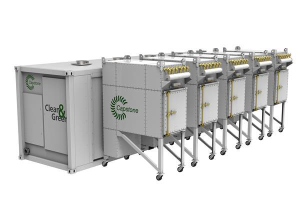 Capstone Self Cleaning Filtrating System:New self-cleaning pulse filtration system allows Capstone microturbines to withstand the most remote and sandy locations in the world with minimal maintenance.
