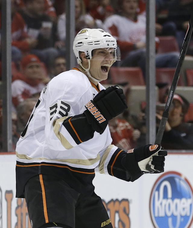 Anaheim Ducks left wing Jakob Silfverberg (33) of Sweden reacts after scoring a goal on Detroit Red Wings goalie Jonas Gustavsson during the first period of an NHL hockey game in Detroit, Tuesday, Dec. 17, 2013. (AP Photo/Carlos Osorio)