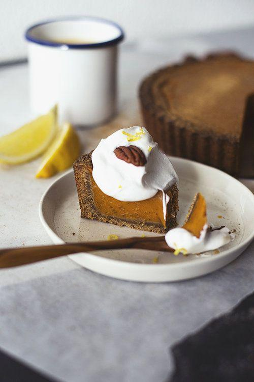 "<p>Thanks to a few ingenious ingredient swaps, this delicious and elegant pie is totally vegan as well as gluten-free. </p><p><a href=""https://www.cocooncooks.com/blog-en/citrusy-sweet-potato-pie"" rel=""nofollow noopener"" target=""_blank"" data-ylk=""slk:Get the recipe from Cocoon Cooks »"" class=""link rapid-noclick-resp""><em>Get the recipe from Cocoon Cooks »</em></a></p>"