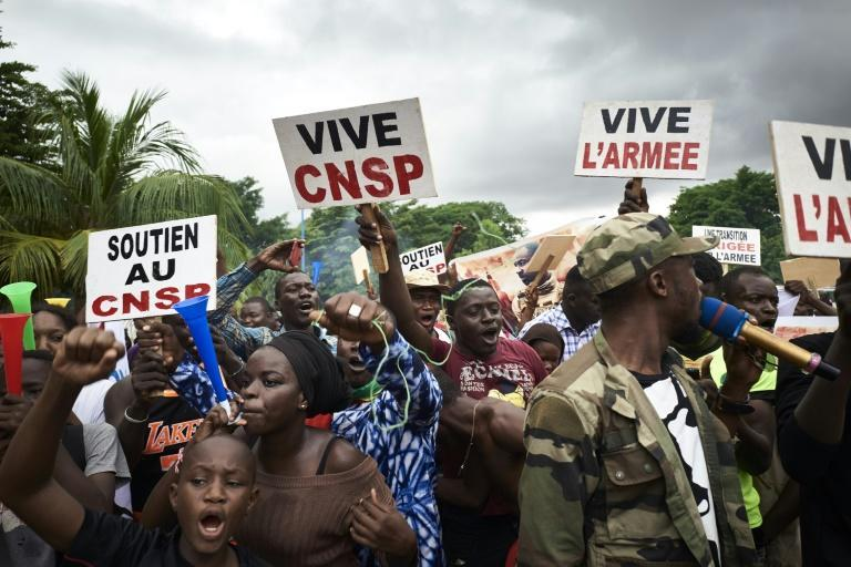A pro-junta rally, staged after the military forced out Mali's unpopular president, Ibrahim Boubacar Keita, in August
