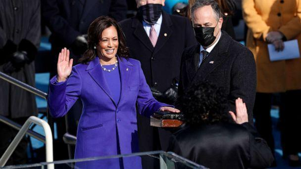 PHOTO: Sonia Sotomayor, associate justice of the U.S. Supreme Court, administers the oath of office to U.S. Vice President-elect Kamala Harris during the presidential inauguration in Washington, D.C., Jan. 20, 2021. (Daniel Acker/Bloomberg via Getty Images, FILE)