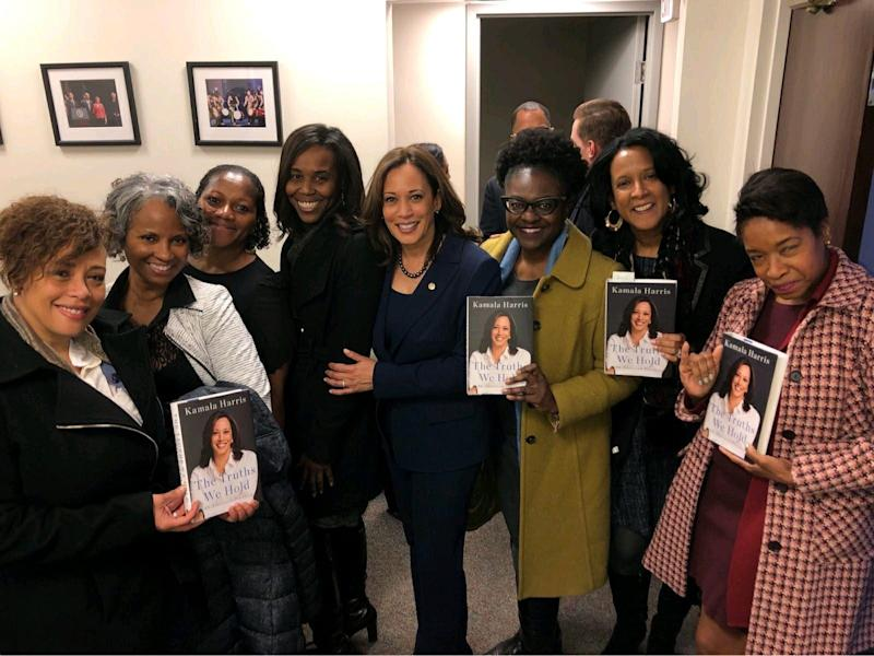 Kamala Harris poses with her line sisters from Howard University.