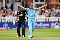 Chris Woakes celebrates as Guptill is given out (Photo by Mike Hewitt/Getty Images)