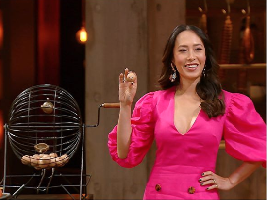 Melissa Leong wearing a pink dress on MasterChef