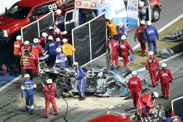 Ryan Newman's car after he was extricated from his vehicle by safety workers on Monday. (AP Photo/David Graham)