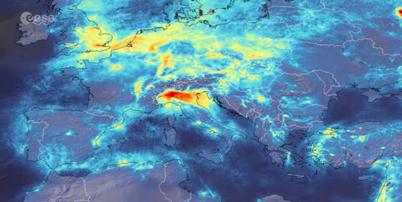 Air pollution clears in northern Italy after coronavirus lockdown, satellite shows