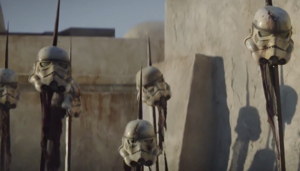The Old West-meets-Mad Max aesthetic of 'The Mandalorian' is on display in this scene from one of the earliest trailers. (Photo: Walt Disney/Lucasfilm/YouTube)