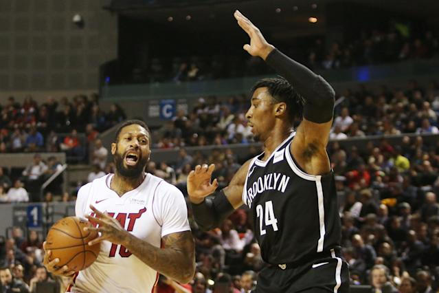 Basketball - NBA Global Games - Brooklyn Nets v Miami Heat - Arena Mexico, Mexico City, Mexico December 9, 2017. James Johnson of Miami Heat and Rondae Hollis-Jefferson of Brooklyn Nets in action. REUTERS/Edgard Garrido