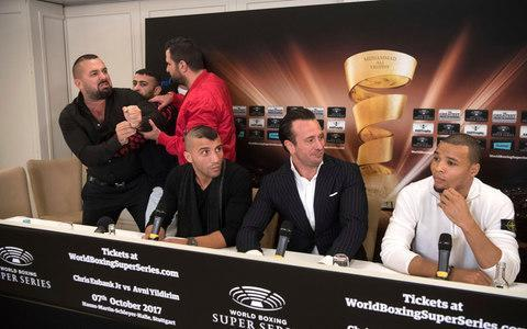 <span>Promoter Ahmet Oner, above left, gesticulates to an official of the Eubank crew</span> <span>Credit: AP </span>