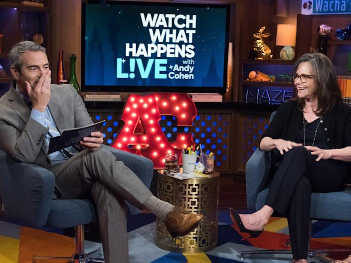 andy cohen and sally field watch what's going on live