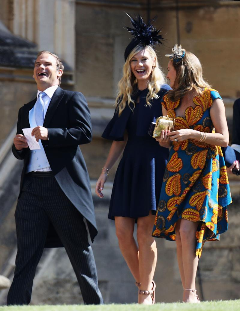 Chelsy Davy, best known for her seven-year on-off relationship with Prince Harry, was the first of his exes to show up to the wedding, snapped laughing with friends on her way into the event.